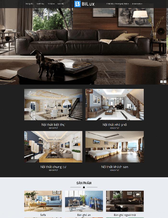 Mẫu website thiết kế, thi công Nội thất