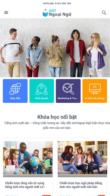 Mẫu website trung tâm ngoại ngữ ANT