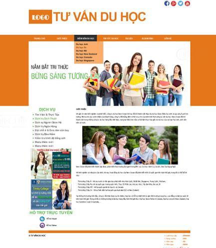 mẫu trang chủ thiết kế website du học