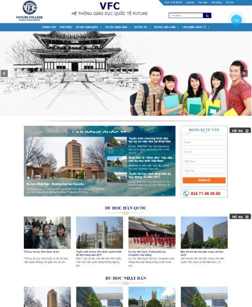 mẫu thiết kế website du học