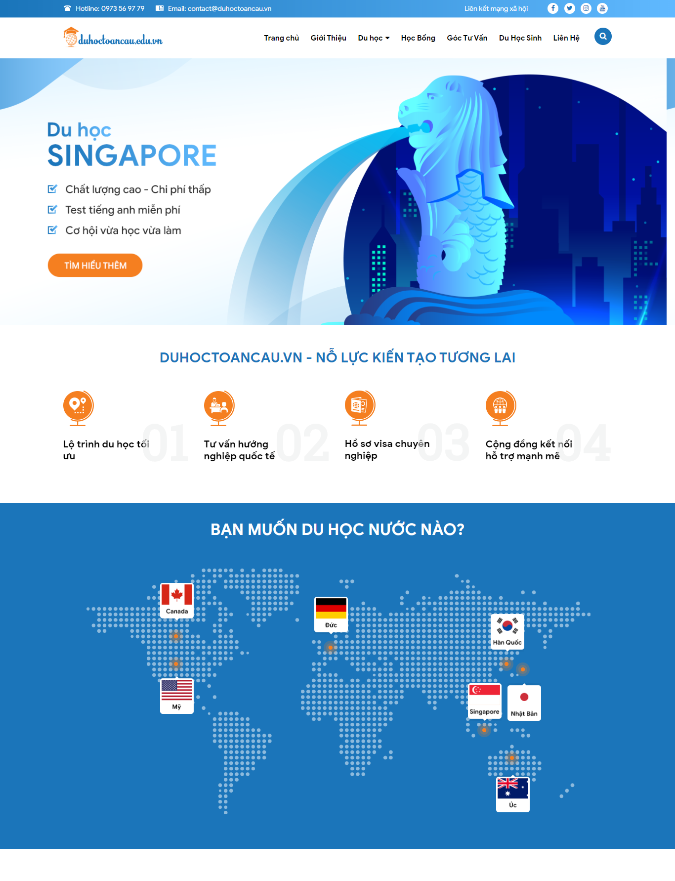 Mẫu website du học toàn cầu