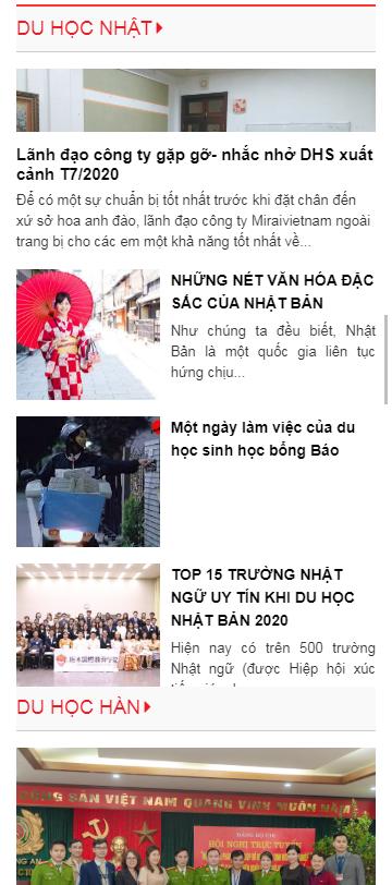 Mẫu website xuất khẩu lao động Mirai