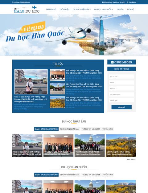 Mẫu website du học Halu