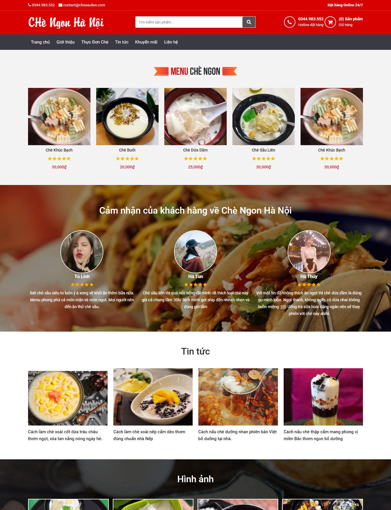 Mẫu website bán chè online